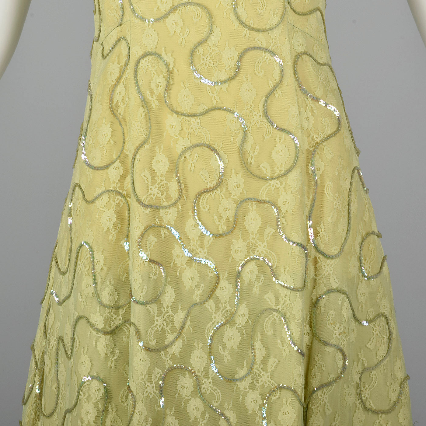 1960s Green Lace Overlay Dress with Sequins