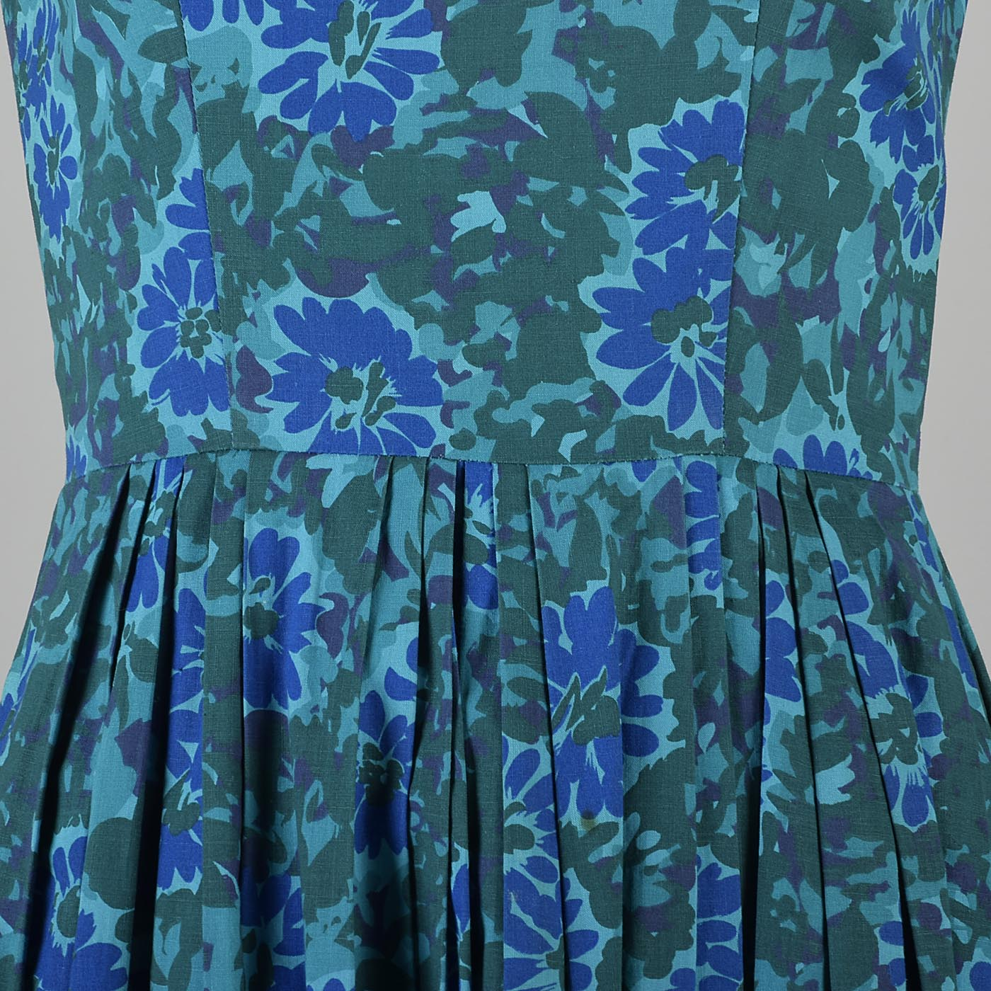 1950s Teal Fit and Flare Dress
