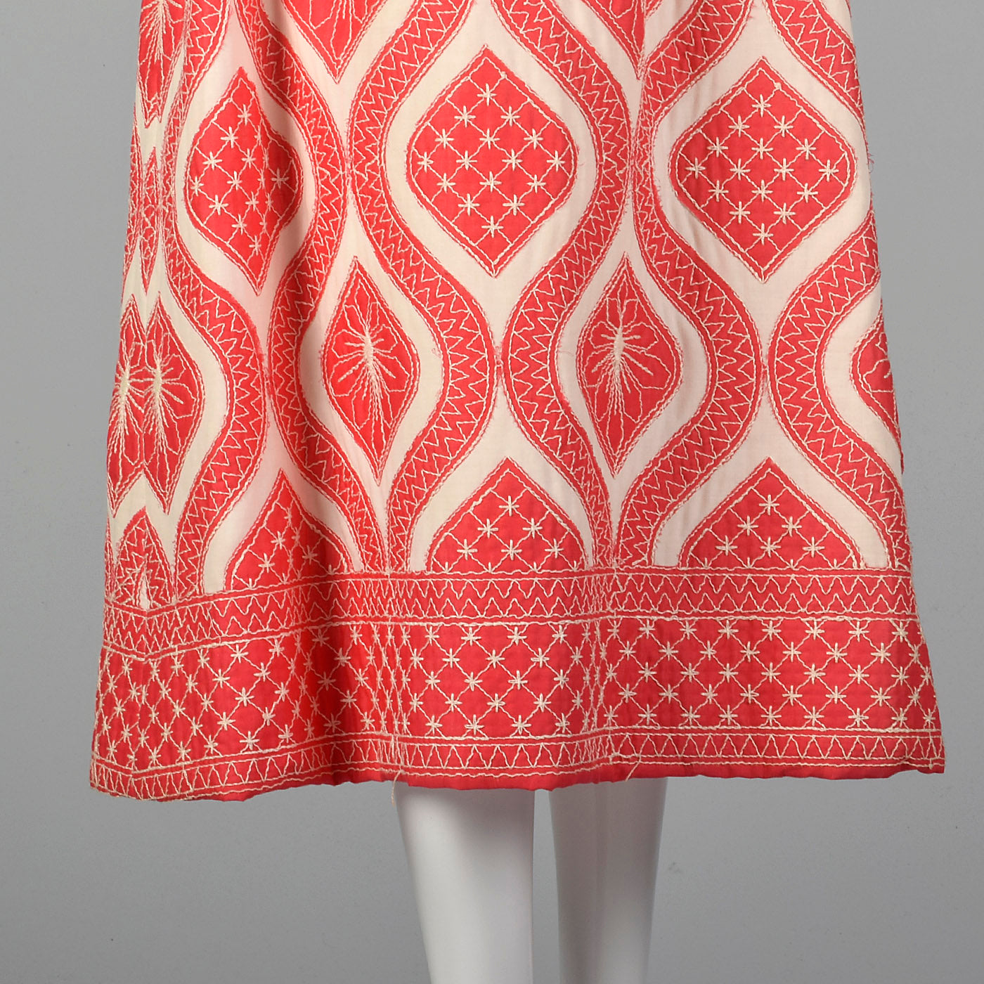 1970s Quilted Maxi Dress in Coral