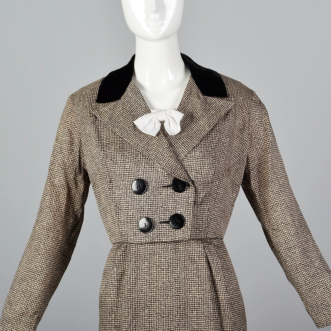 1950s Dress and Jacket Set with Removable Dickie