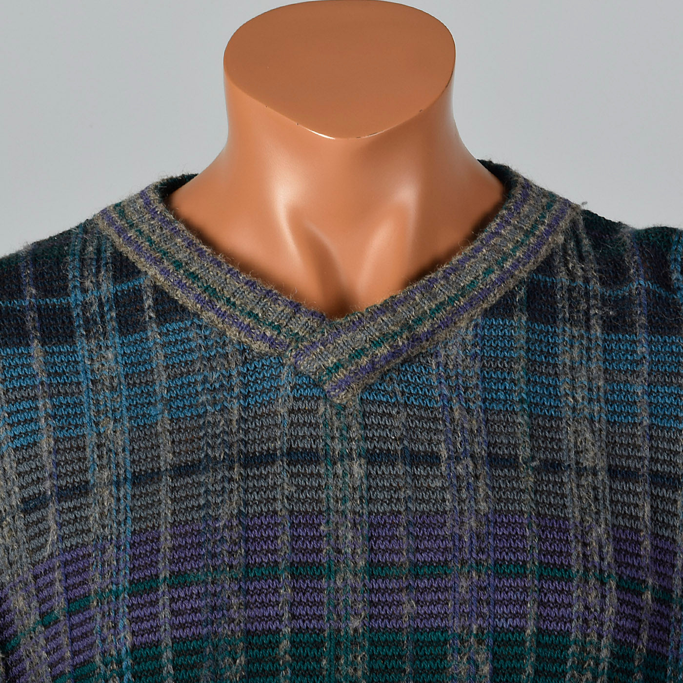 1980s Missoni Uomo Mens Plaid Sweater