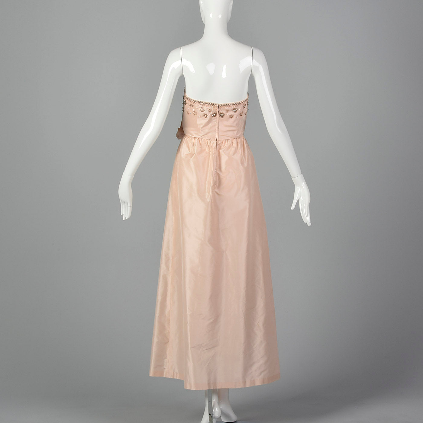 1960s Pale Pink Evening Gown with Beaded Bodice