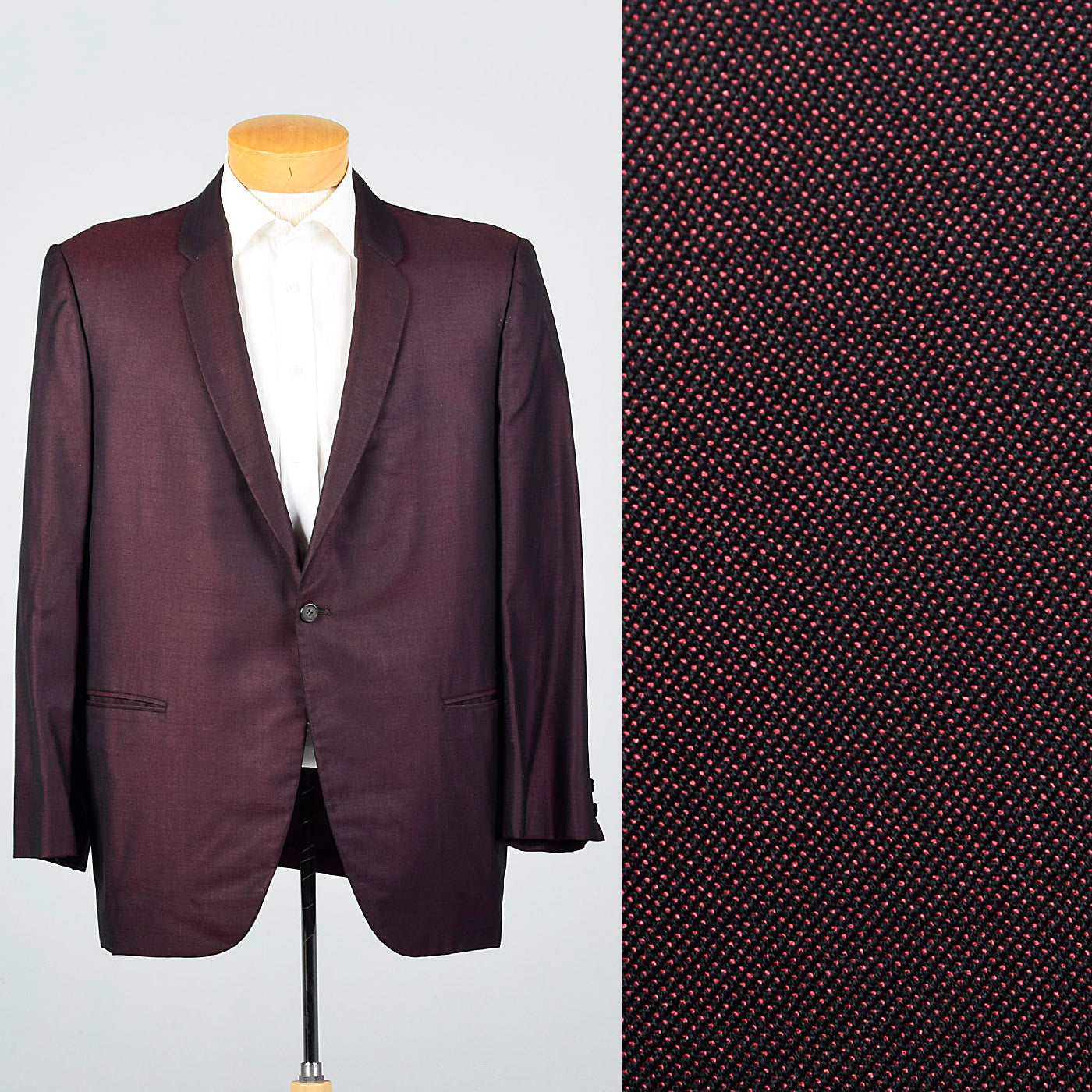 1950s Red and Black Sharkskin Jacket with Rounded Lapels