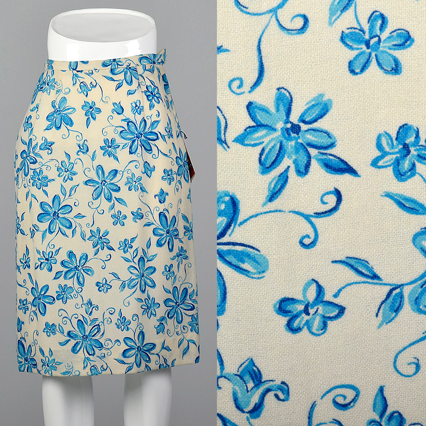 1960s Blue Floral Pencil Skirt