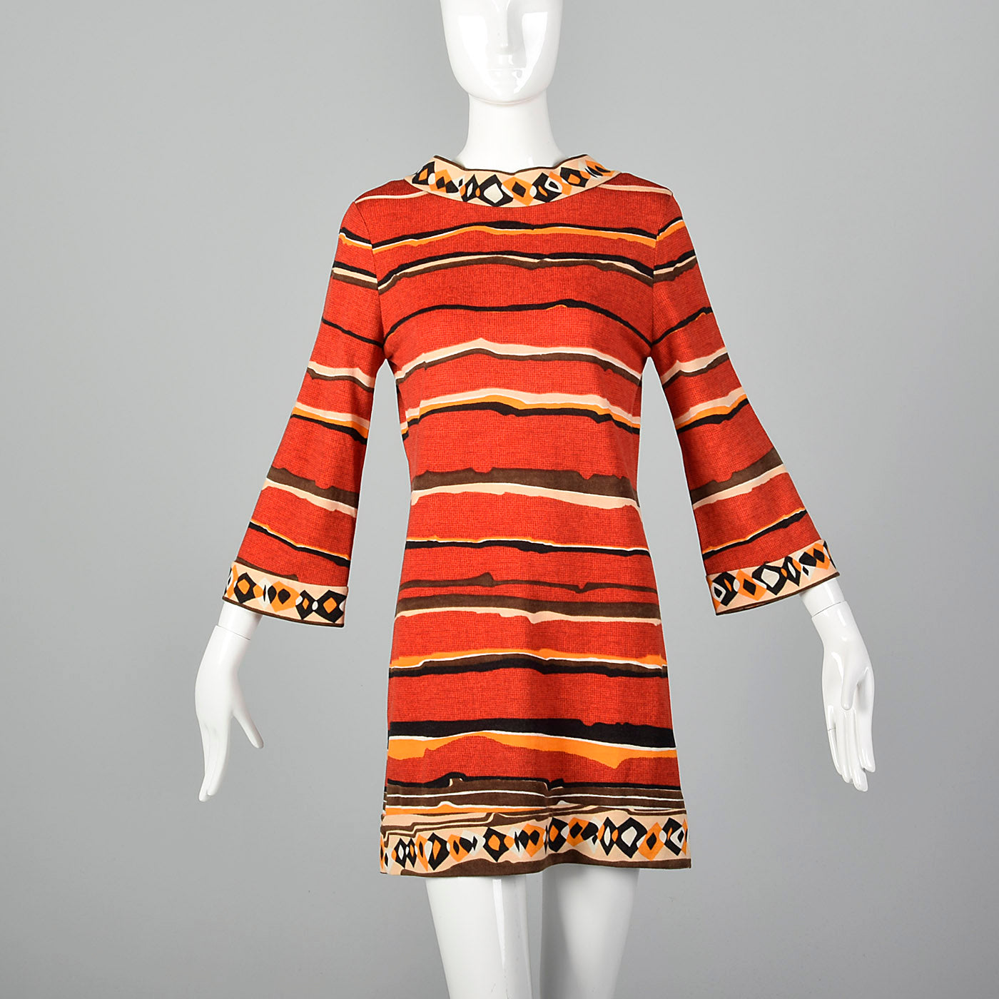1970s Goldworm Red Abstract Print Dress