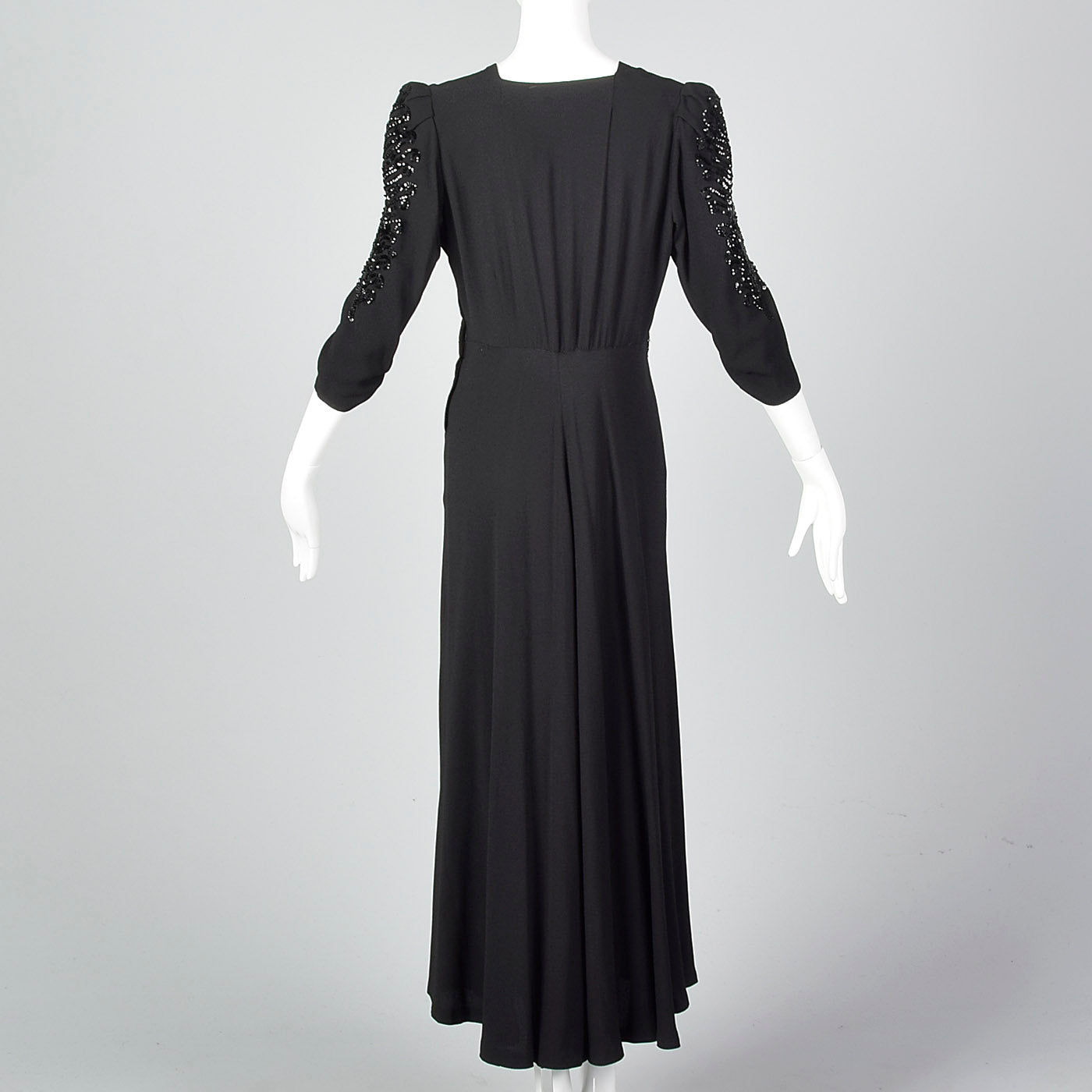 1940s Black Crepe Gown with Sequin Sleeves