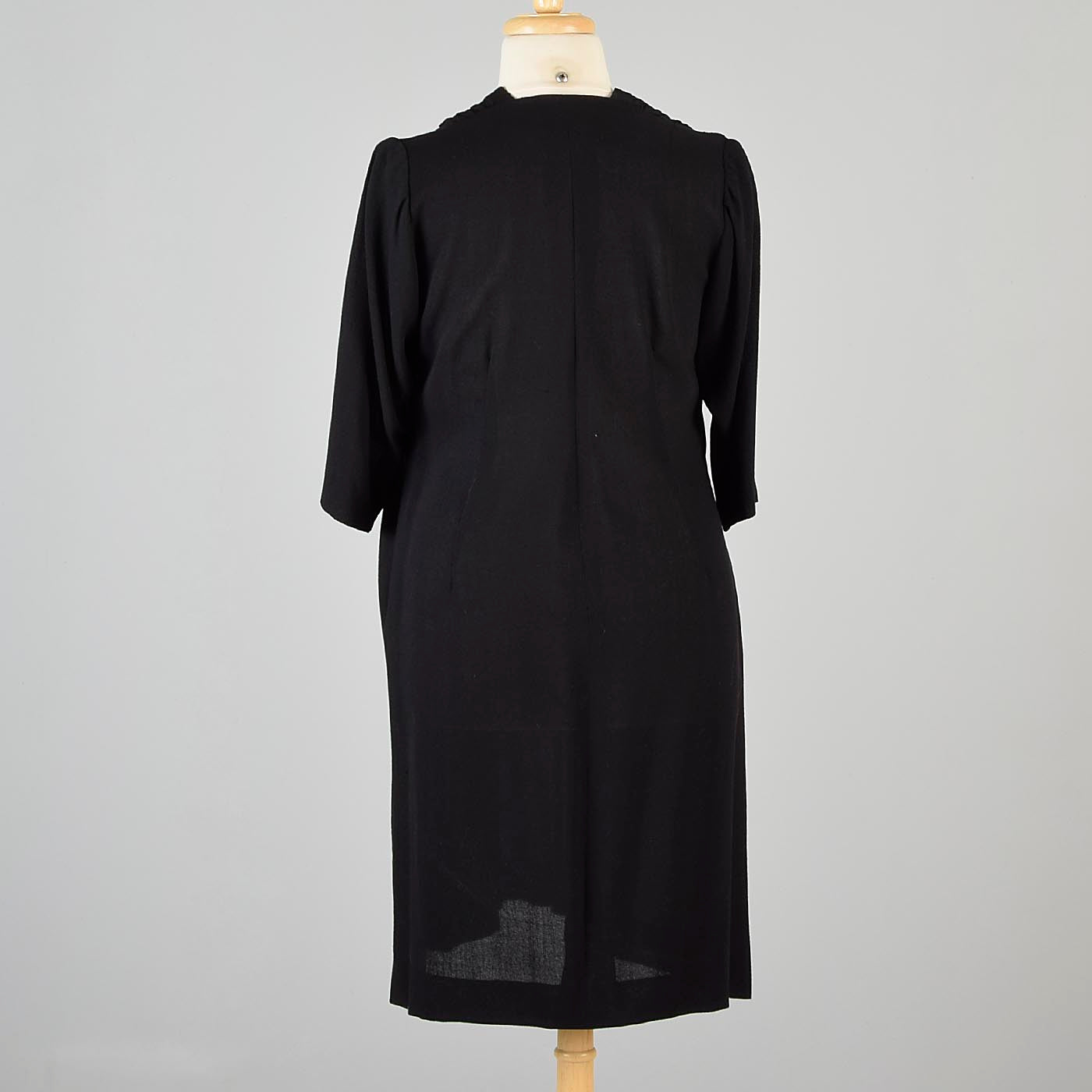 1940s Black Crepe Dress with Beaded Bust
