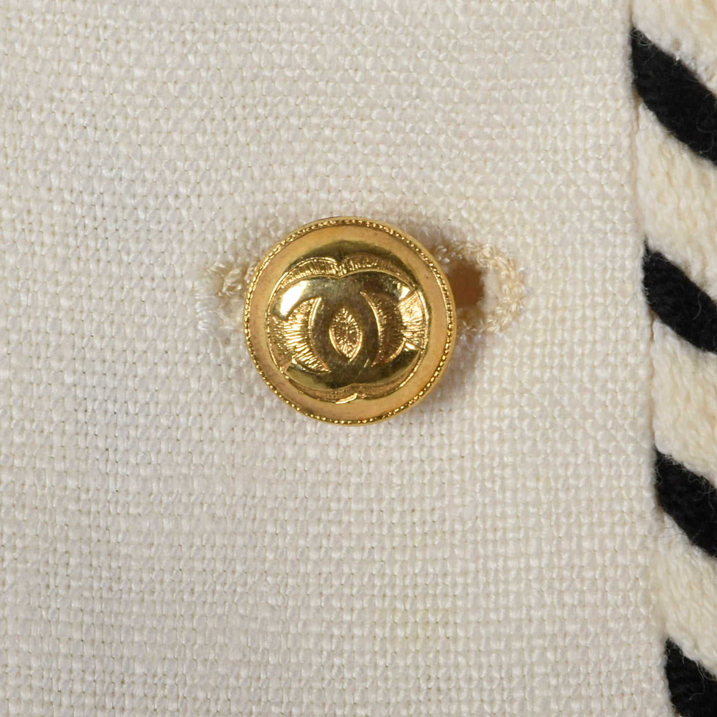 Chanel White Linen Jacket with Gold Logo Buttons and Black & White Trim