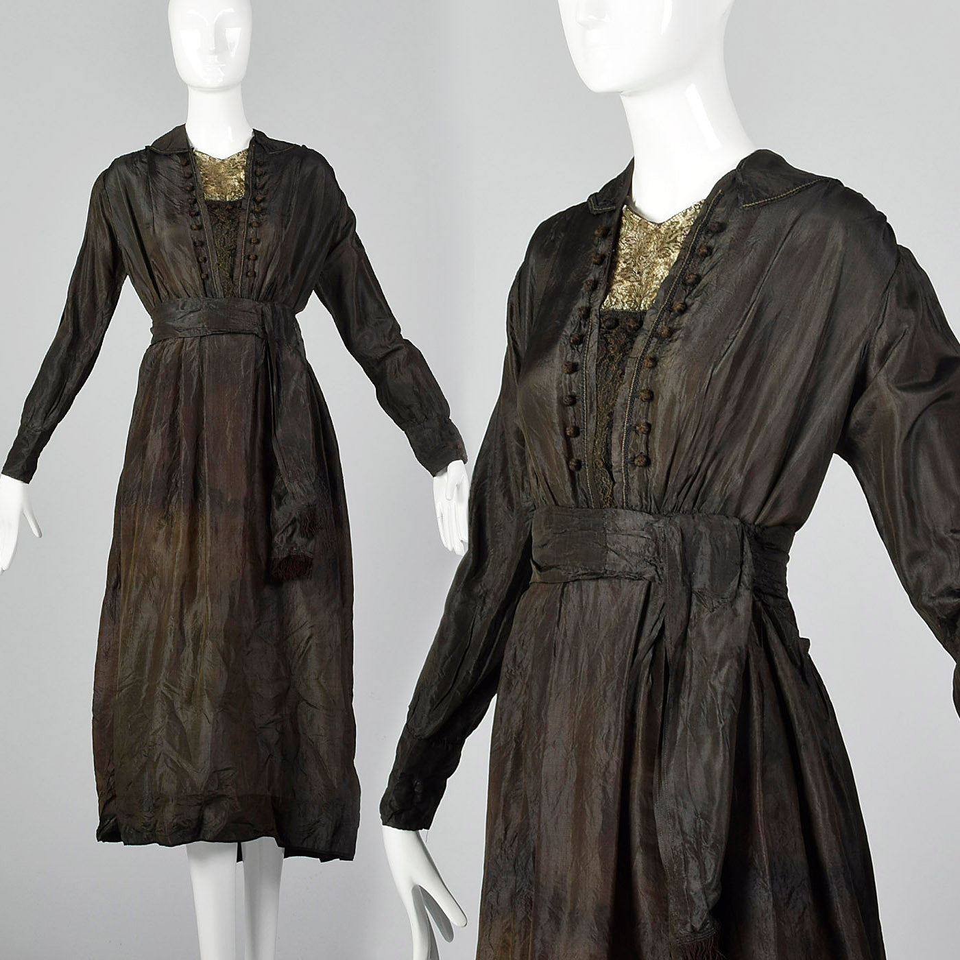 1910s Black Silk Edwardian Dress