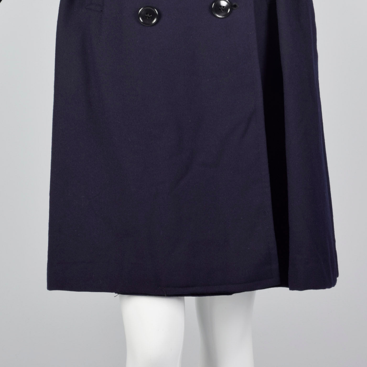 1960s Navy Blue Wool Trench Coat