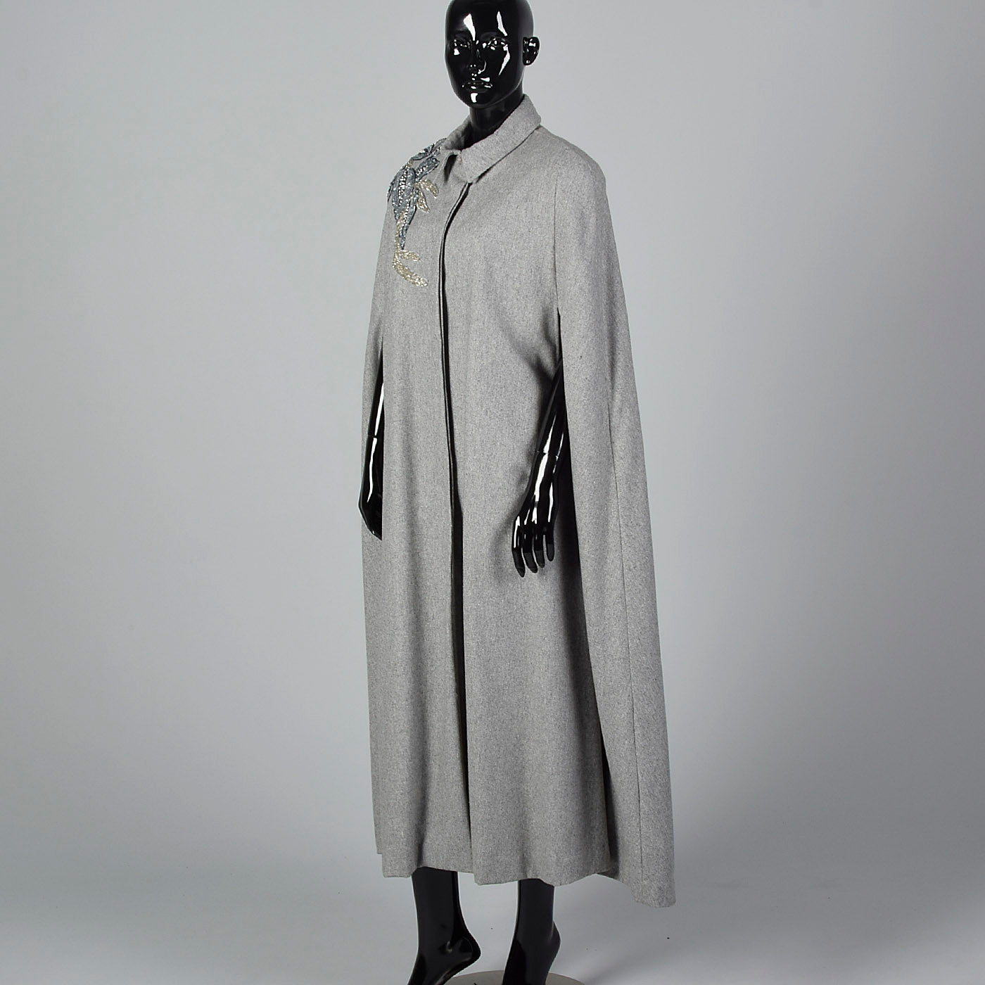 1980s Grey Wool Cape