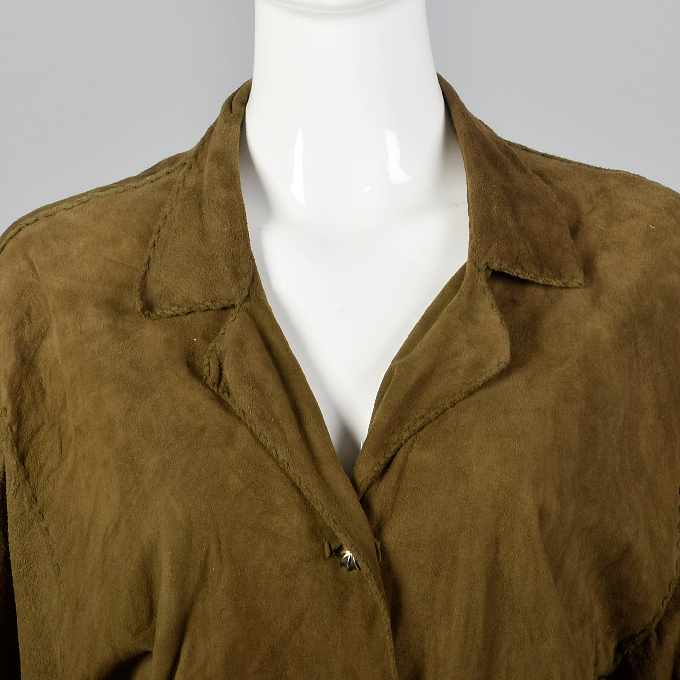 1980s Green Suede Leather Shirt