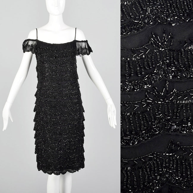 1990s Off Shoulder Beaded Dress with Layered Ruffles