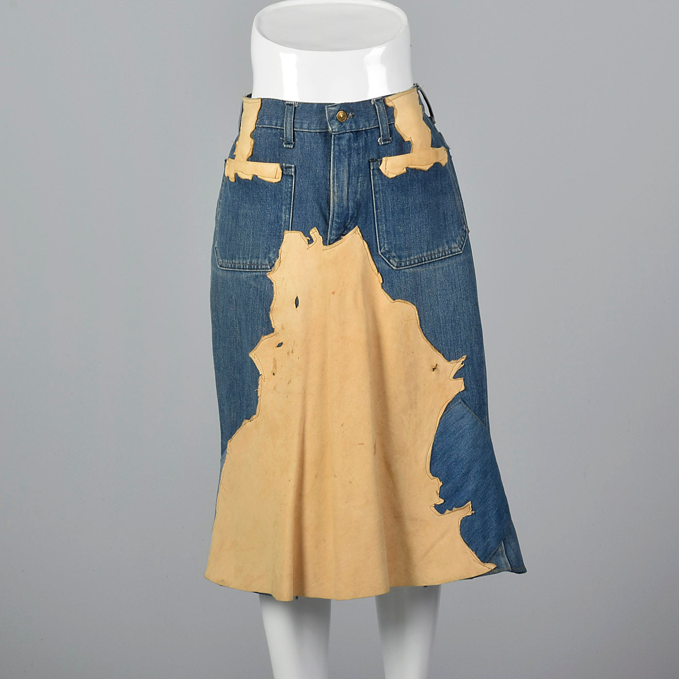 1970s Bohemian  Denim & Leather Patch Skirt