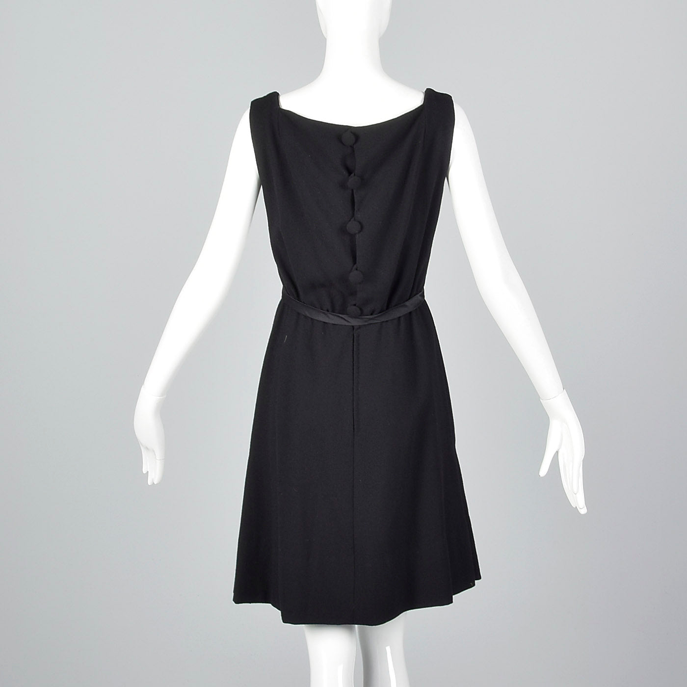 1950s Adele Simpson Black Dress with Button Up Back