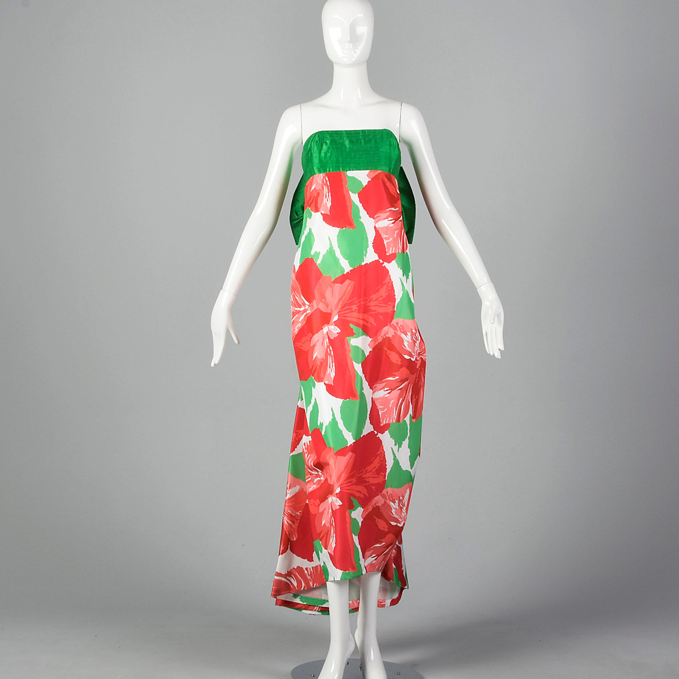 1980s Victor Costa Floral Print Dress