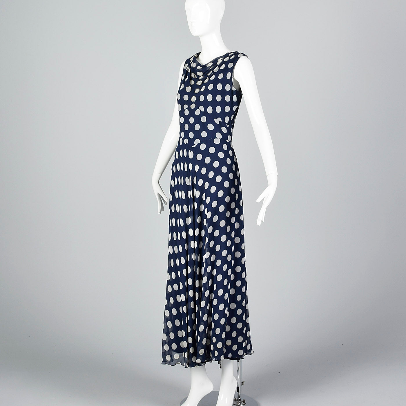 1970s Navy Dress with White Polka Dots