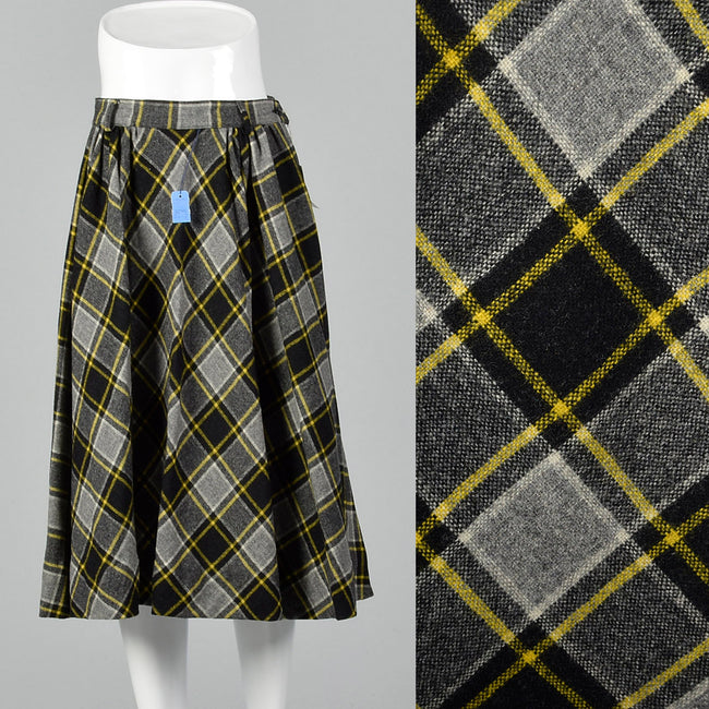 1950s Deadstock Plaid Fit and Flare Skirt