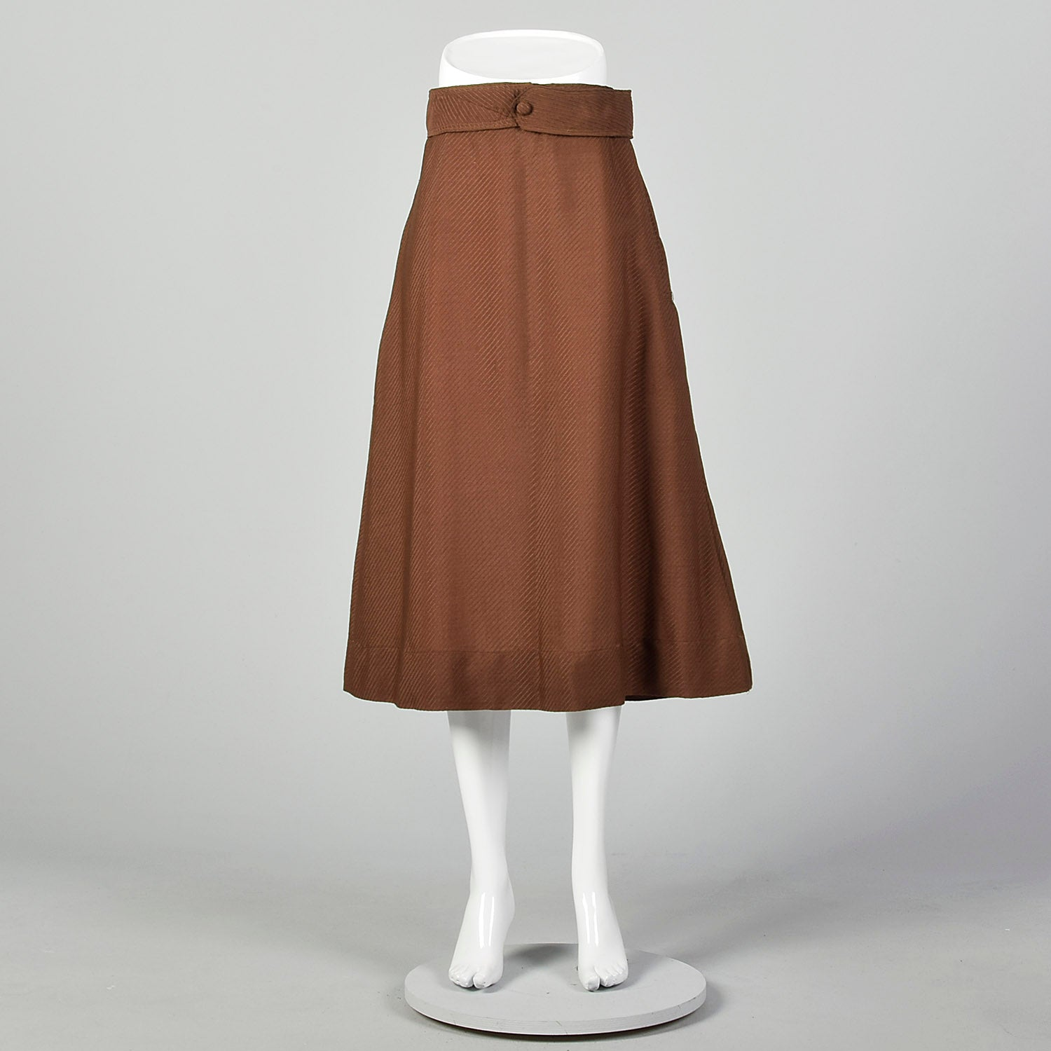 Medium 1910s Edwardian Brown Lightweight Skirt