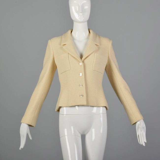Medium Chanel 1990s Cream Wool Jacket