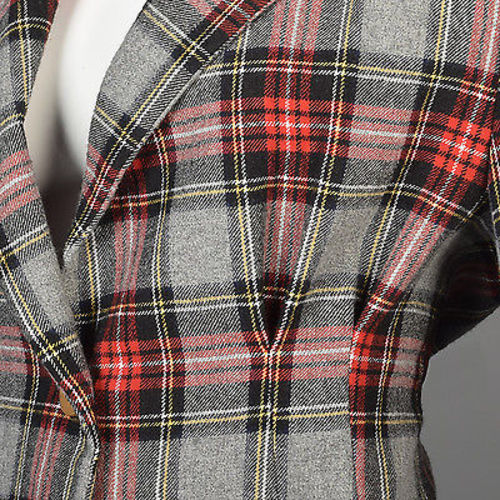 1990s Vivienne Westwood Anglomania Fitted Tartan Plaid Jacket with Extra Long Sleeves