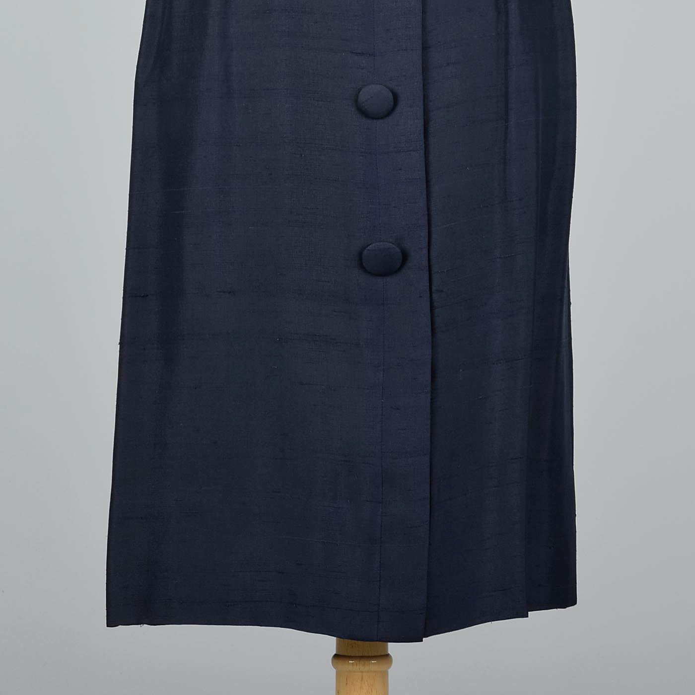 1950s Navy Silk Dress with Wide Belt and Decorative Buttons