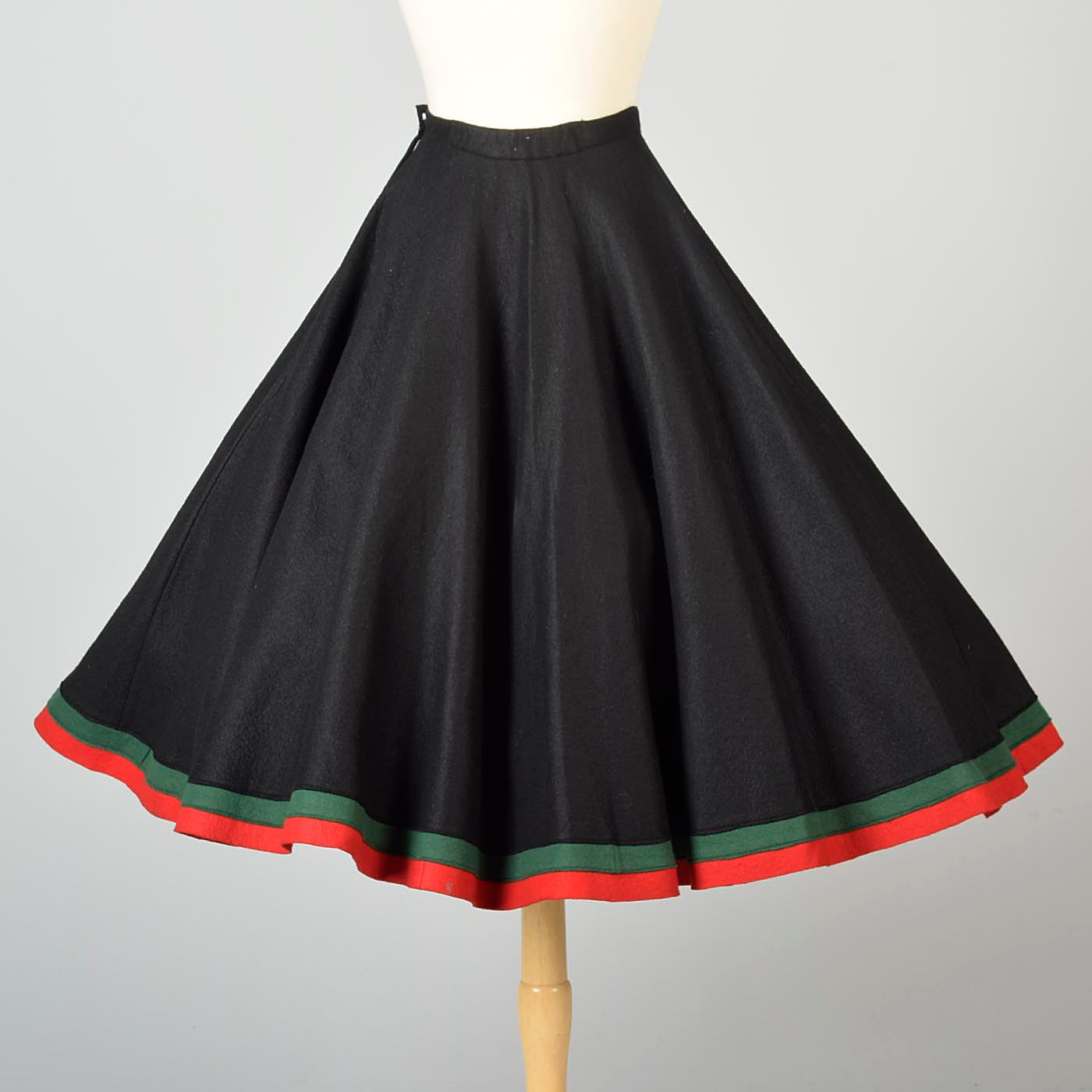 1950s Black Circle Skirt with Felt Flowers