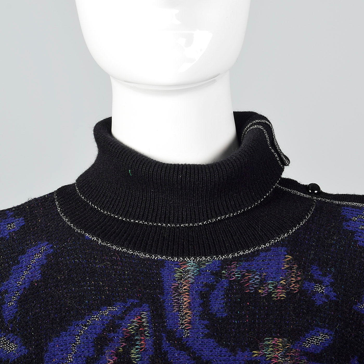 1980s Emanuel Ungaro Wool Sweater Dress with Button Up Turtleneck