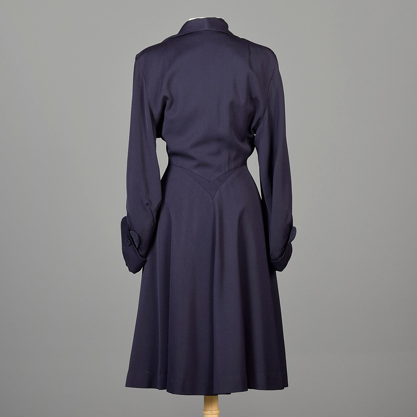 1950s Blue Gabardine Hourglass Princess Coat with Full Sleeves