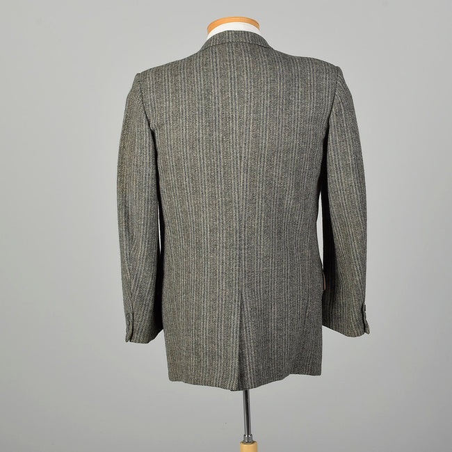 1950s Mens Wool Tweed Jacket Gray Stripe
