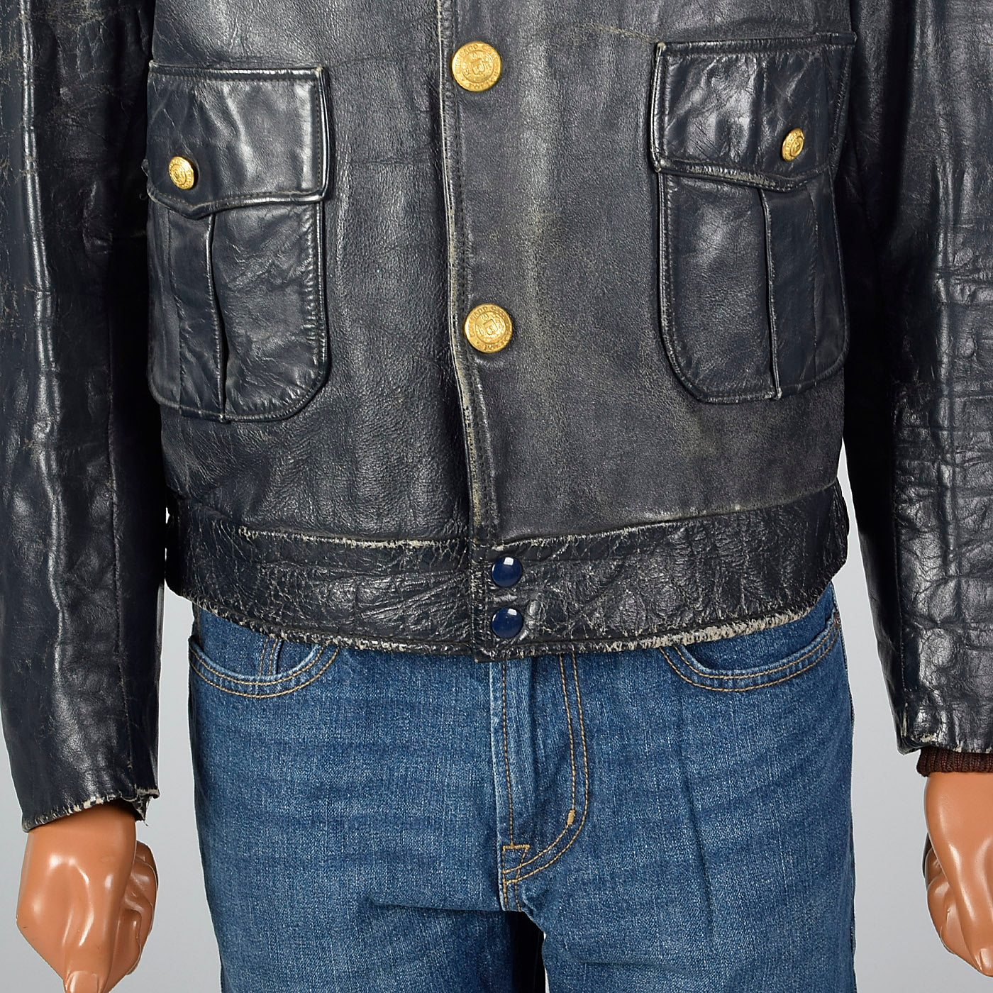 1950s Mens Chicago Police Leather Jacket