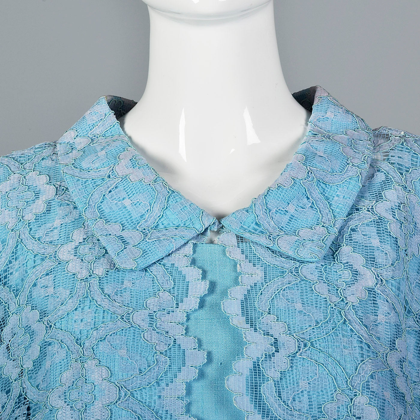 1960s Baby Blue Two Piece Set with Lace Trim