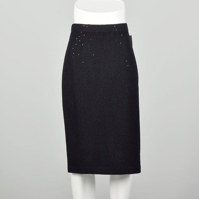 Large St John Evening Black Knit Skirt Sparkle Paillettes