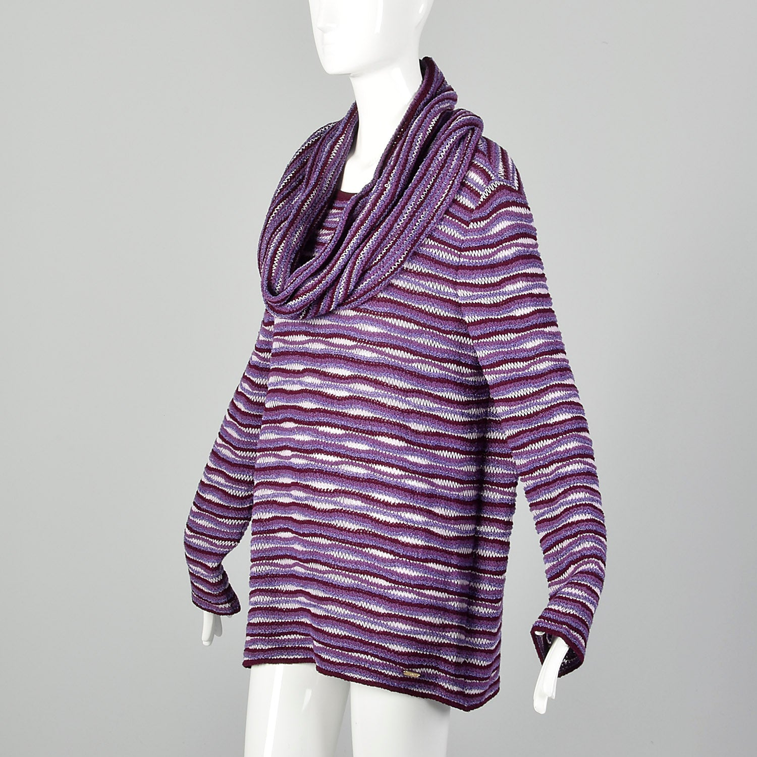 Large St John Sport Purple Knit Scarf and Sweater  Set