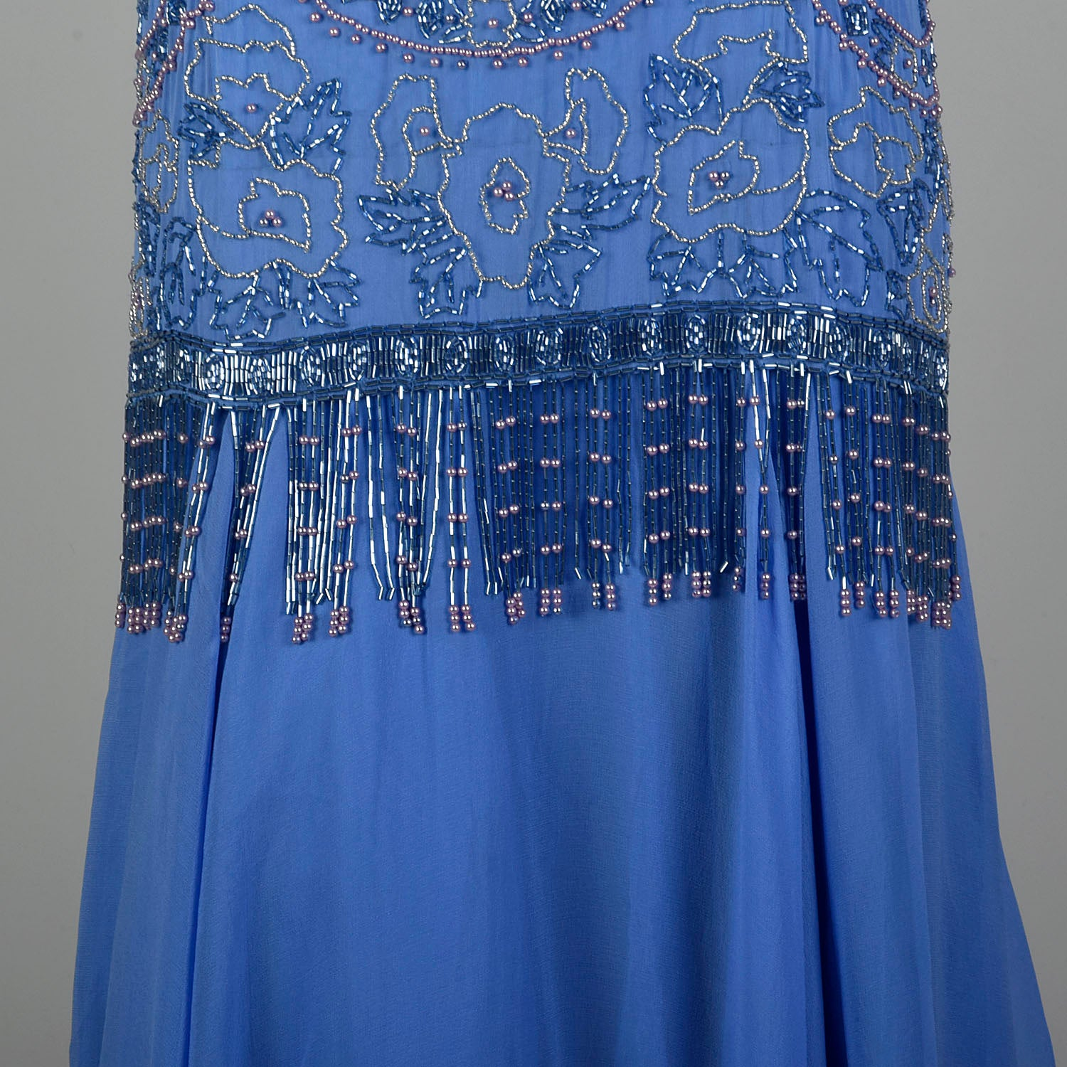 1980s Blue Silk Evening Gown Beaded Formal Dress Modest Drop Waist
