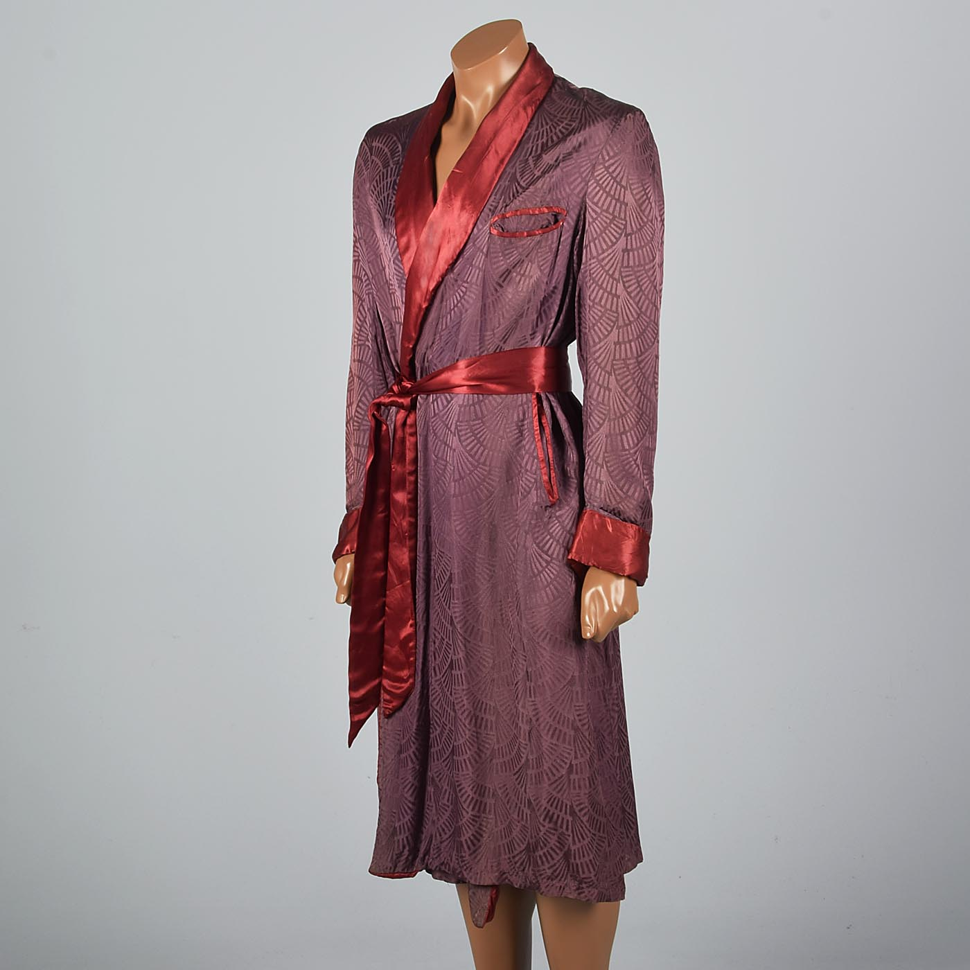 1940s Mens Rayon Robe with Art Deco Pattern