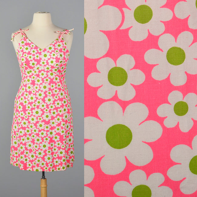 1960s Deadstock Pink Floral Dress