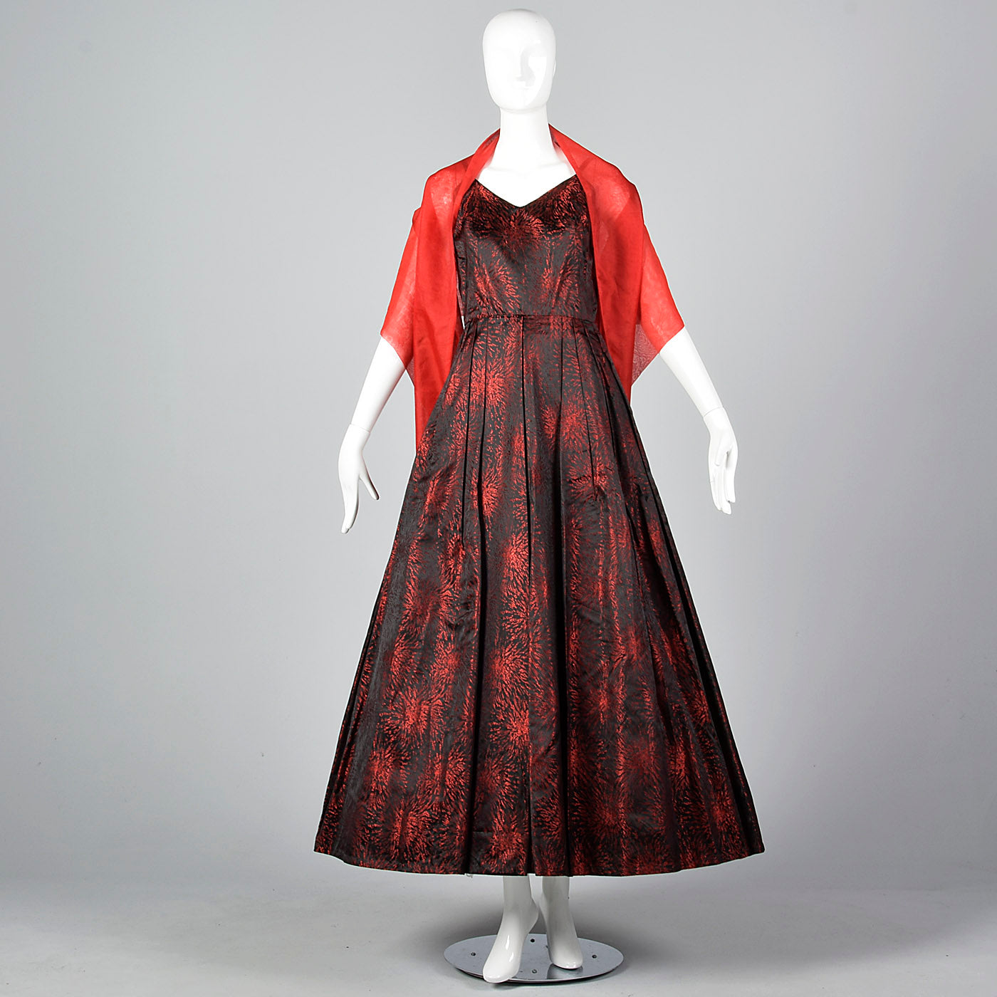 1950s Black and Red Brocade Dress