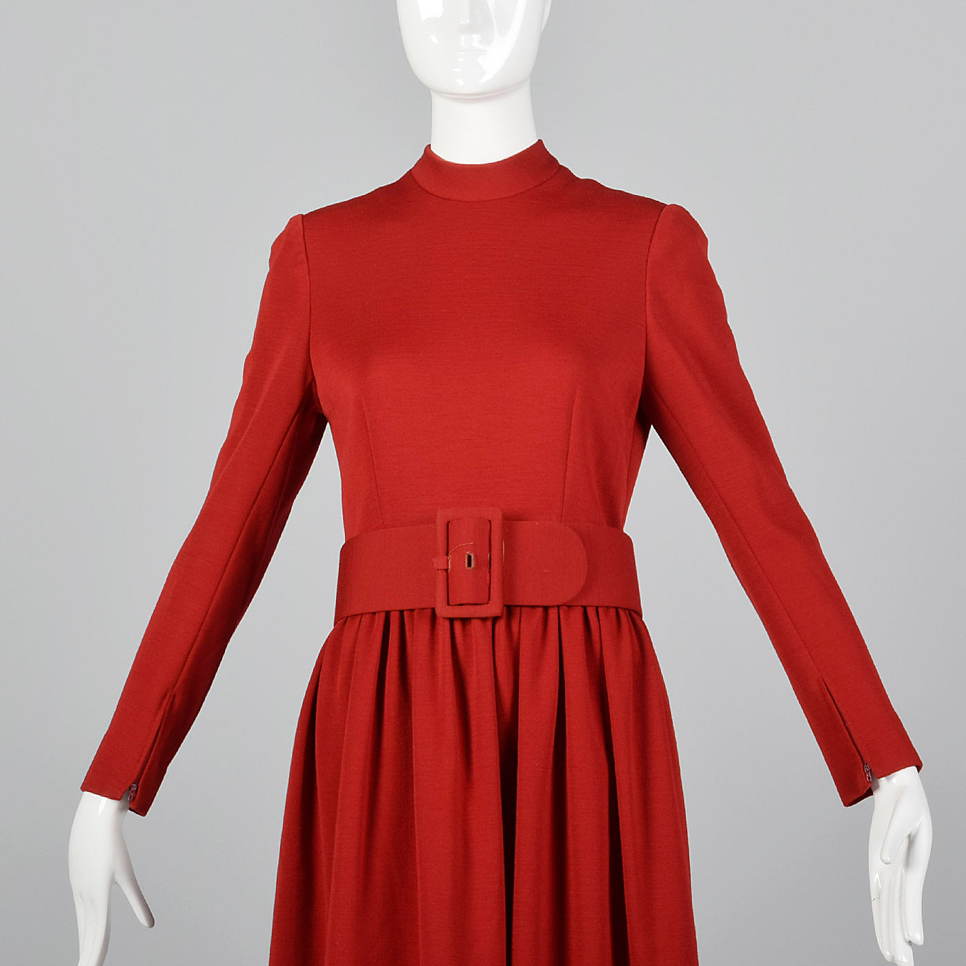 1960s Normal Norell Mod Red Fit & Flare Dress with Wide Belt