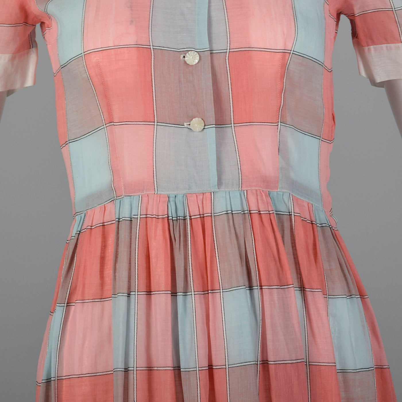 1950s Plaid Day Dress with Peter Pan Collar