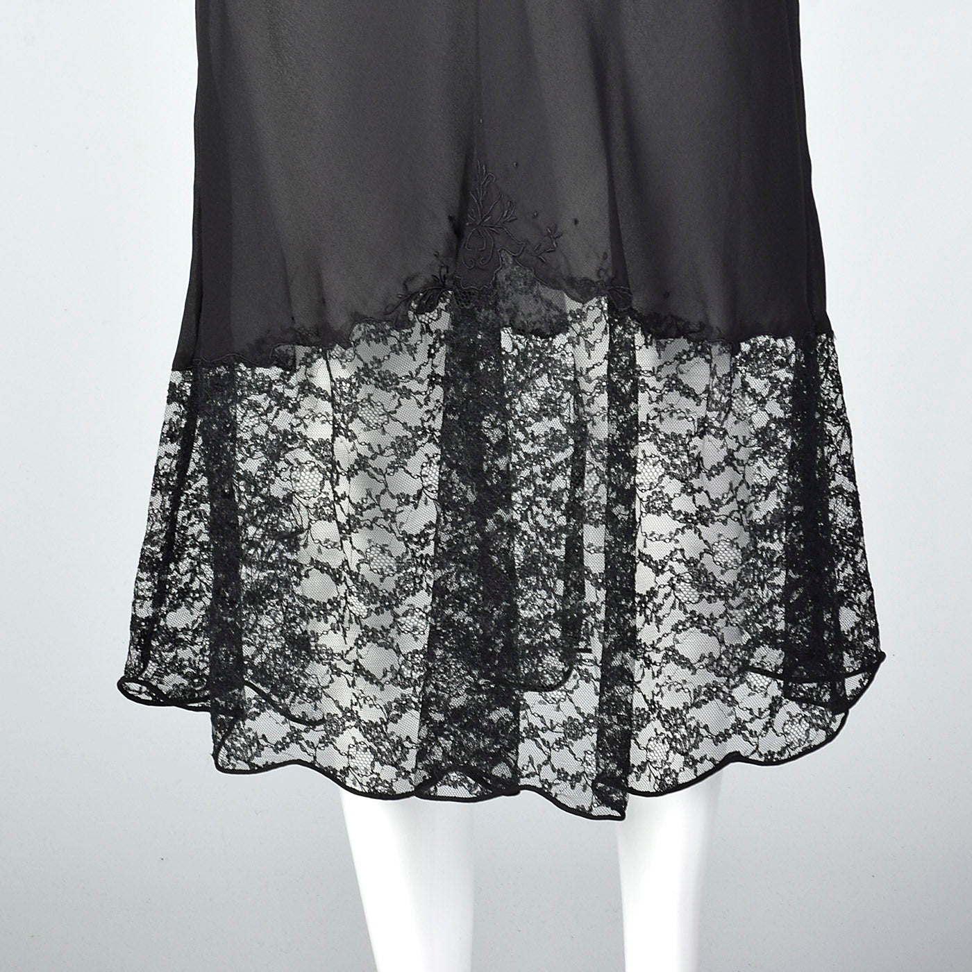 1940s Black Half Slip with Scalloped Sheer Lace Hem