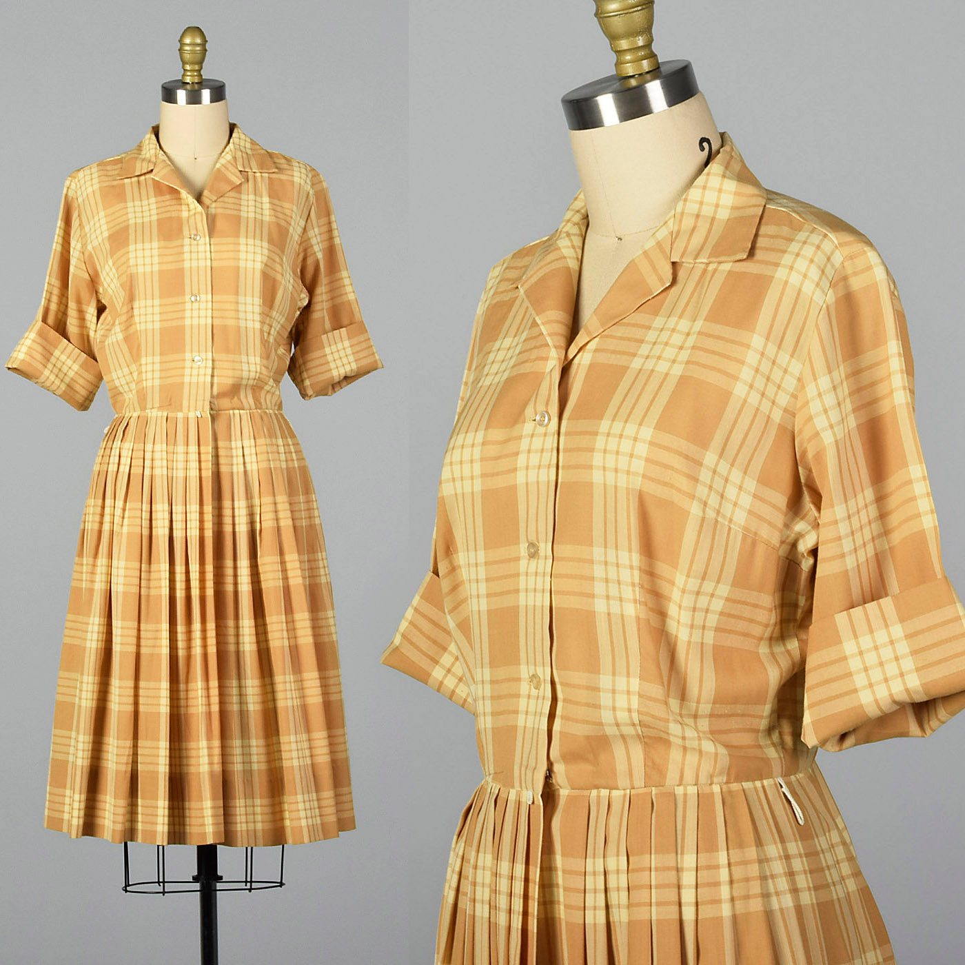1960s Plaid Shirtwaist Dress with Vented Back