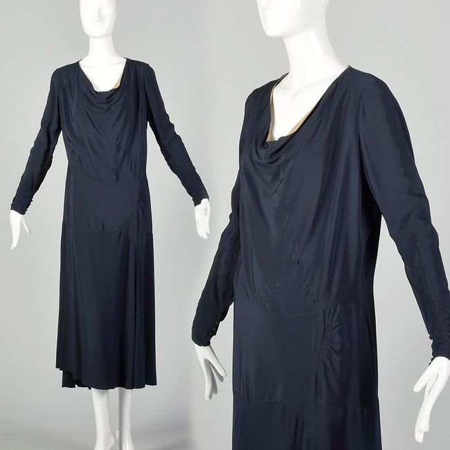 Large 1930s Navy Blue Dress