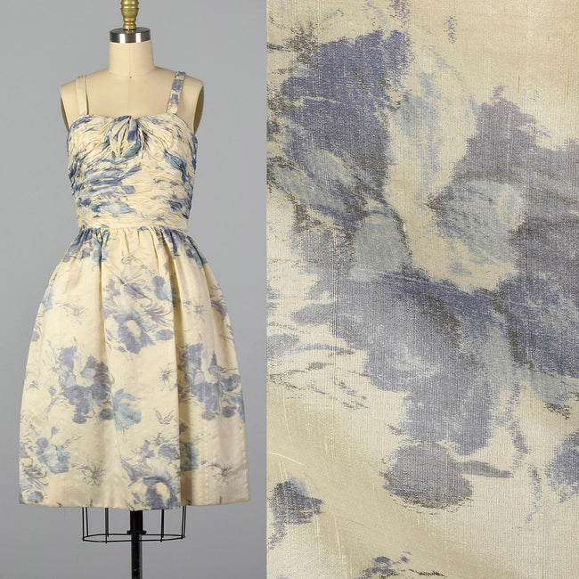 XS 1950s French Floral Cocktail Dress