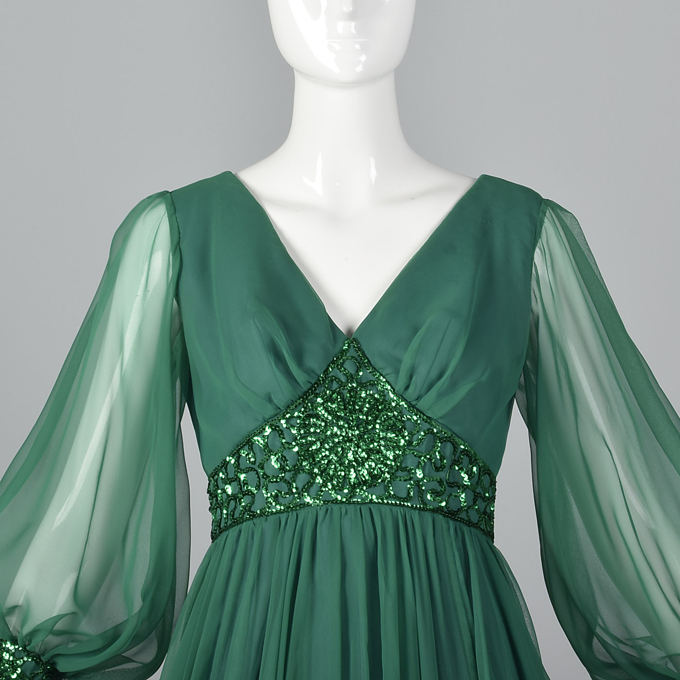1970s Emerald Green Gown with Bishop Sleeves