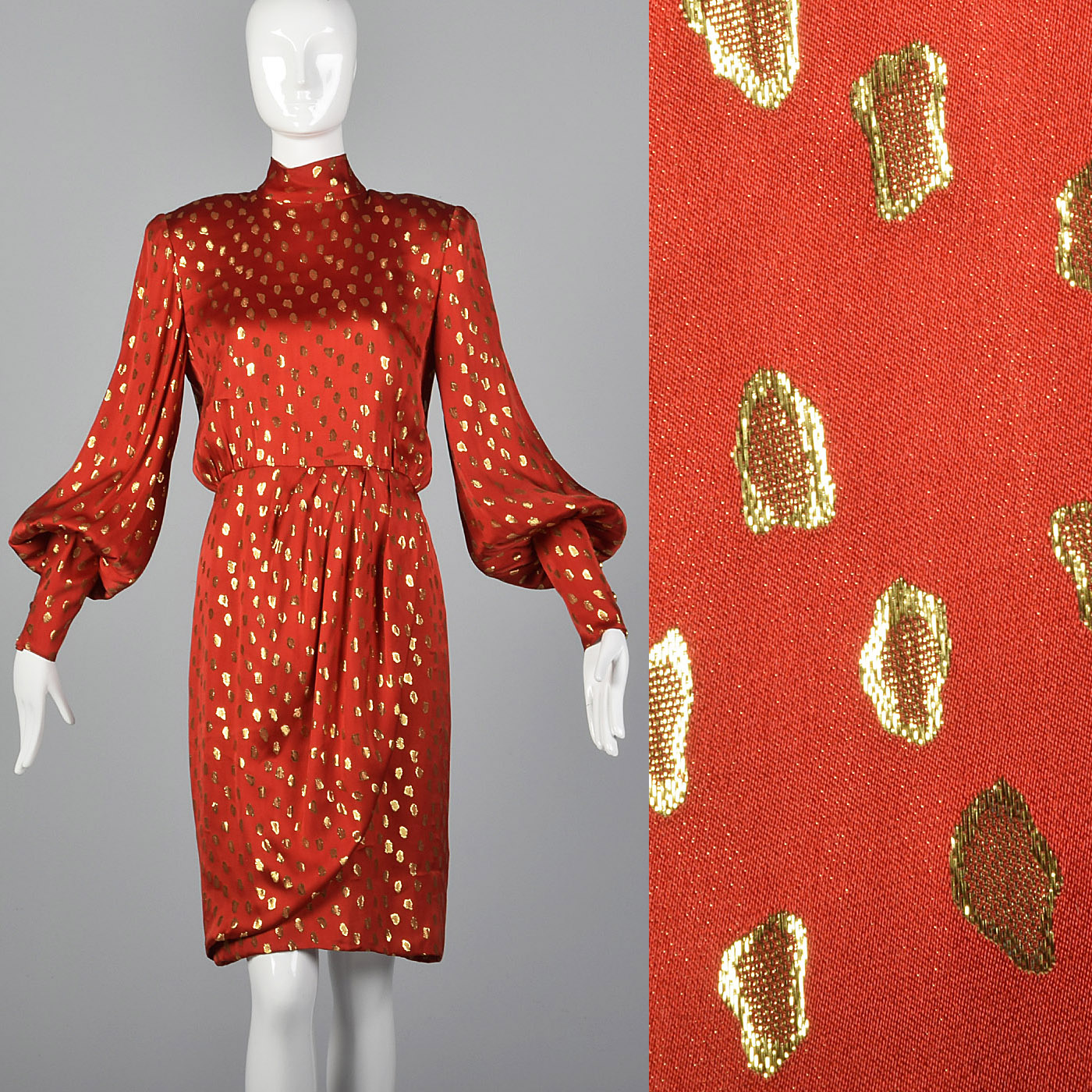 1980s Guy Laroche Red Silk Pencil Dress with Metallic Gold Design
