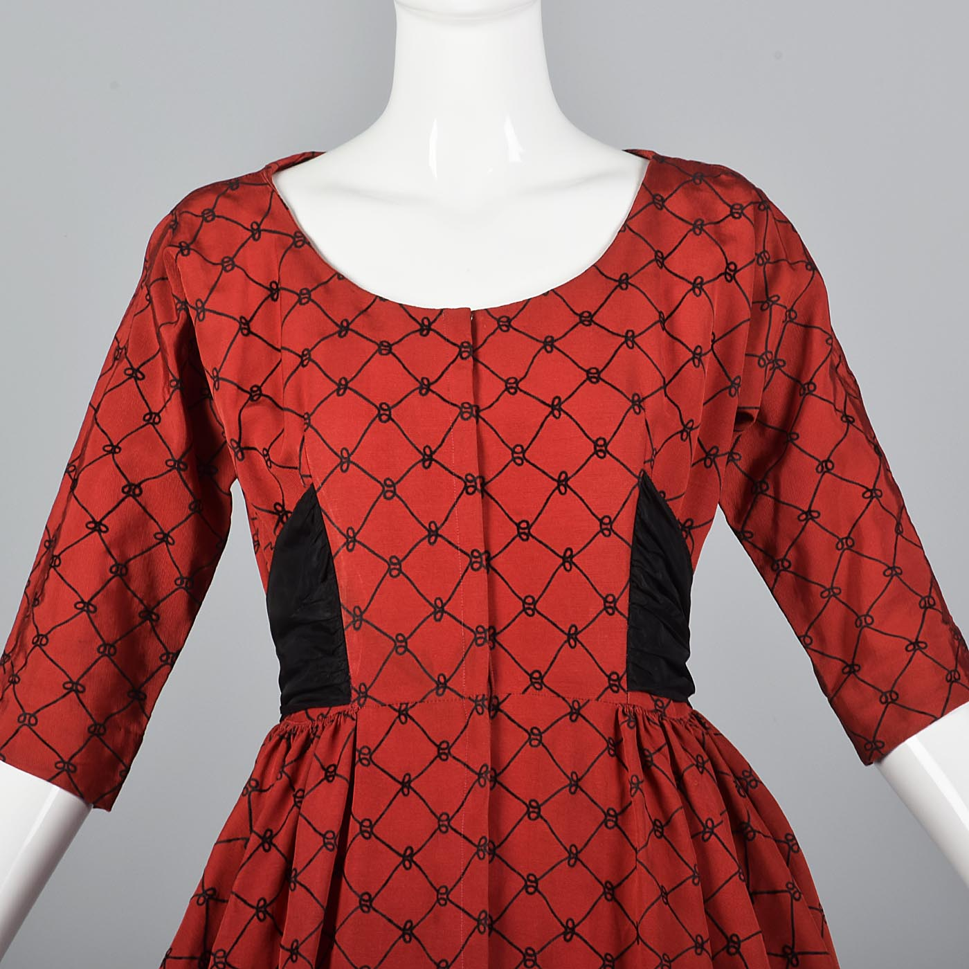 1950s Red Party Dress with Black Taffeta Bow