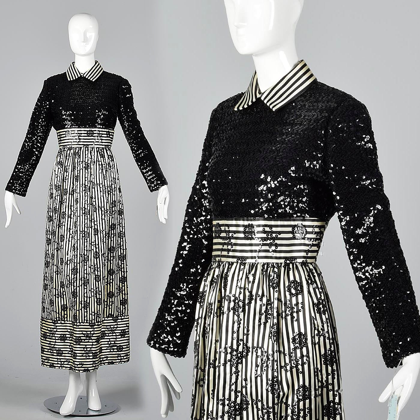 1970s Victor Costa Romantica Sequin Dress