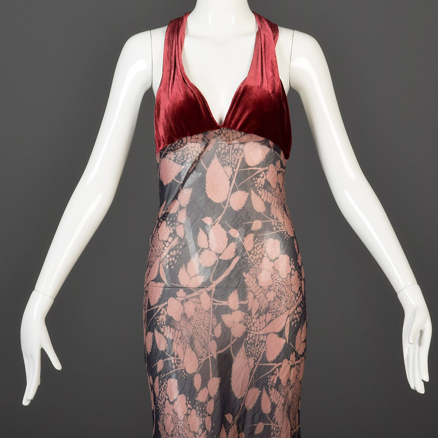 1930s Bias Cut Silk Halter Dress