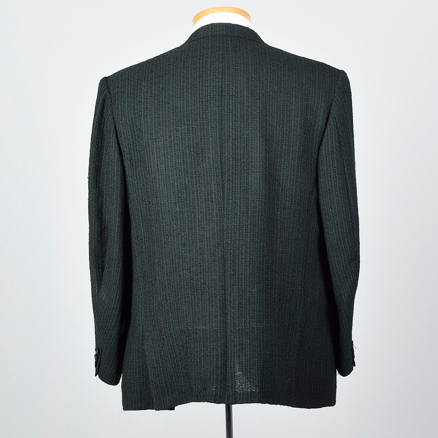 1960s Mens Black with Green Stripe Jacket in a Textured Weave